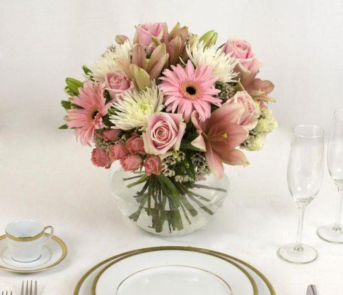 6 Pink Flower Table Centerpieces Bulk Flowers J R Roses Wholesale