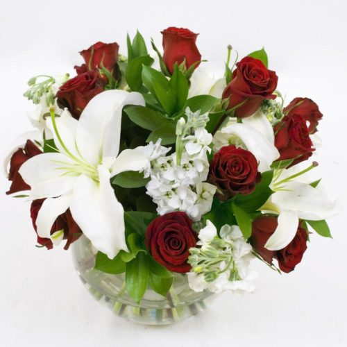 Red and White Table Centerpieces